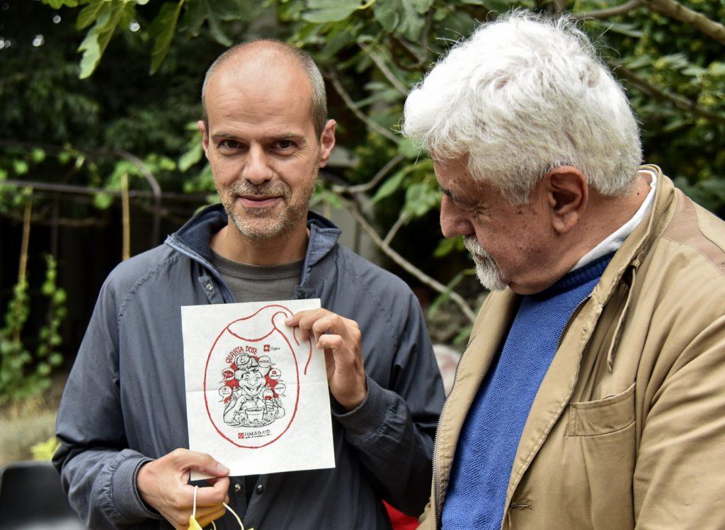 Il fumettista Sergio Ponchione con Sergio Miravalle direttore della rivista Astigiani